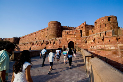This bridge crosses over a moat, which surrounds the entrance to the Red Fort of Agra.