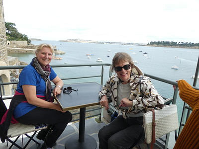 Annette and Marilyn enjoying the good life and the Castelbrac.