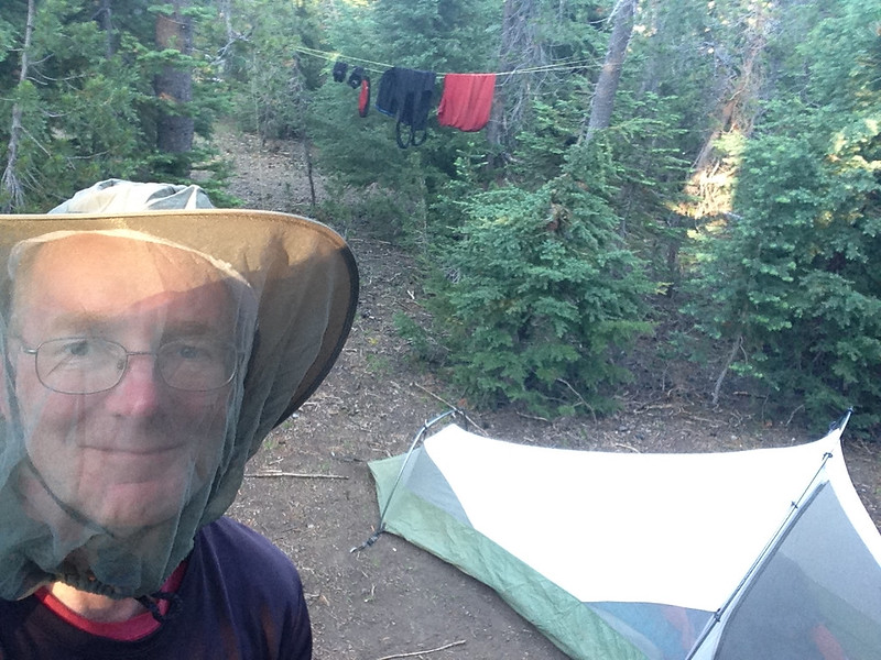 The Mazama campground at Crater Lake had primitive campsites in the woods for hikers and bikers; there were a lot of mosquitoes.