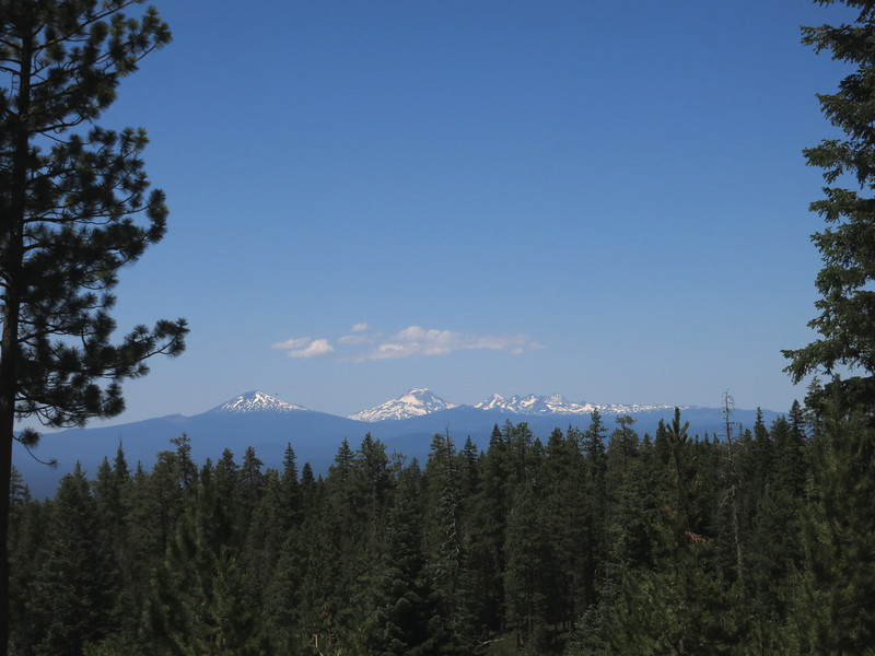 Left to right: Mt. Bachelor (last eruption 8,000 years ago), South Sister (2,000 years), Middle Sister (14,000 years), North Sister (100,000 years).