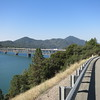 Crossing Shasta Lake on I-5. Bikes are allowed on the interstate when there's no alternative road.