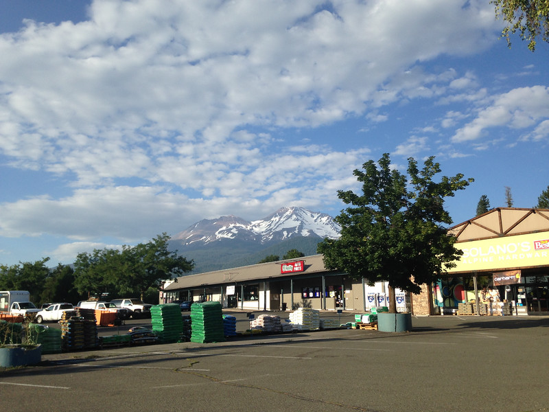 For the third night in a row, I stayed in a motel. This is Mt. Shasta as seen from the town of Mt. Shasta.