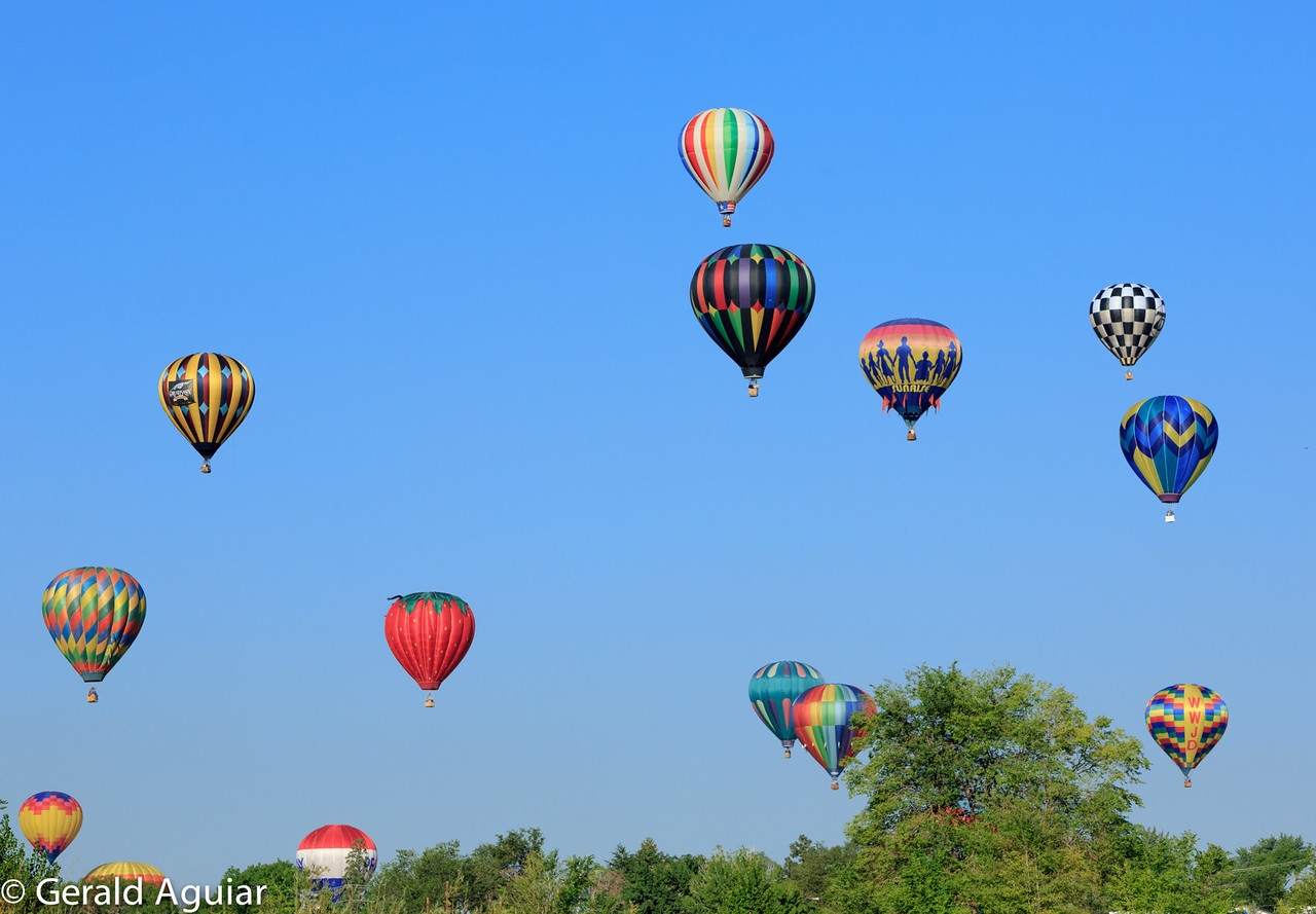 These balloons were to our west and had been in the air for about one hour.  I really liked the strawberry balloon!