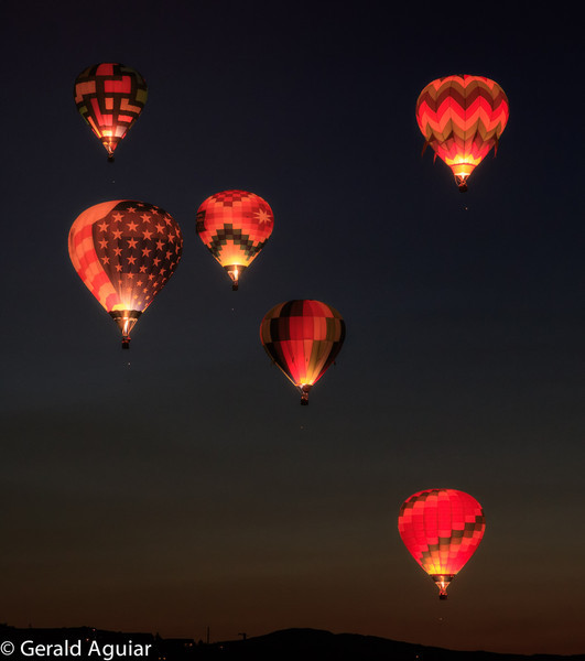 These are six of the seven balloons following take off from the park.  The seventh balloon was east of these balloons and thus not in the picture.