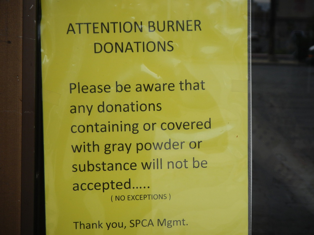 Burner donations must be sans powders.