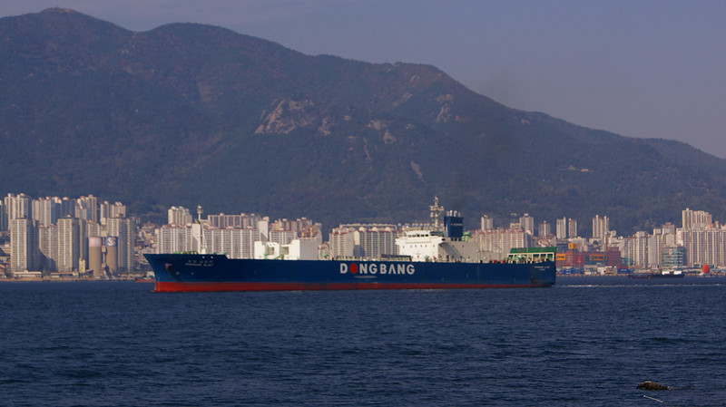 The freighter Dongbang Glory passing Masan outward bound