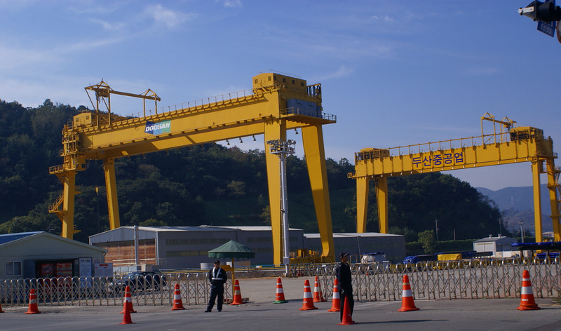 The two 500 tonne gantry cranes at Doosan's Dock in Changwon. the dock is utilised to ship out many of the large products of the Changwon works
