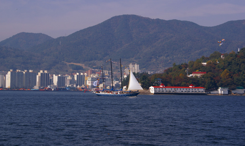 A Korean-registered four masted sailing ship off Masan