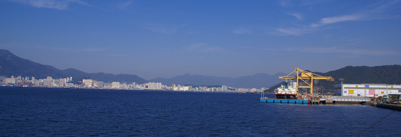 Changwon Dock and the city of Masan across the bay.