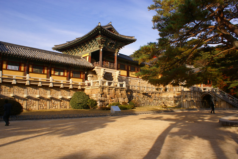 The Bulguksa Temple dates from the 8th Century during the time of the Shilla Kingdom. Many of these ancient Buddhist monuments were significantly damaged during the period of the Japanese occupation of Korea that lasted from 1910 to 1945 and they have only been restored as Korea has gained wealth through its massive industrialisation over the last 50 years following the establishment of the truce in the terrible 3 year long Korean War.