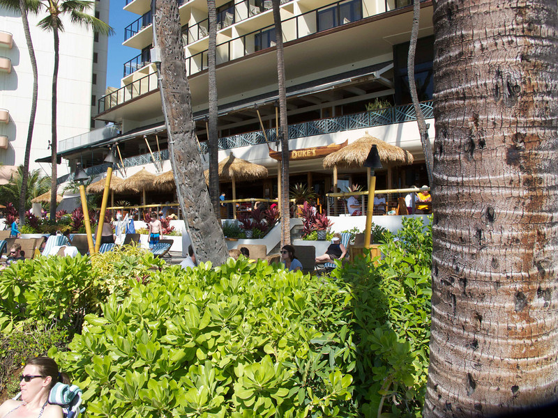 Duke's is named in honor of Duke Kahanamoku, and it seems always to be full. It's not exactly on the beach, but it has a view. Our service there for lunch was not great, but sometimes there are off days.