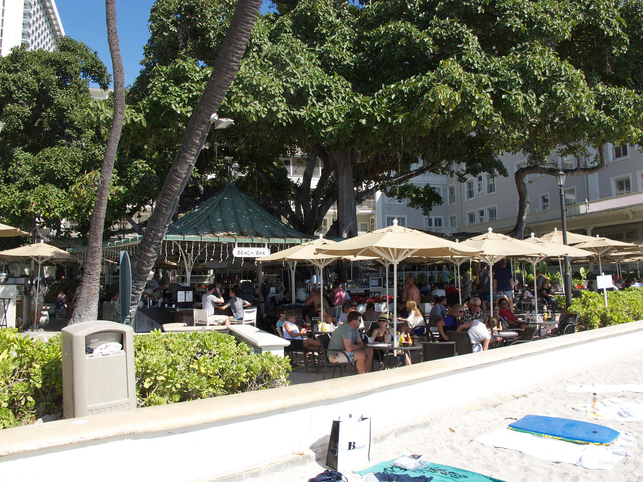 The banyon tree at the Beach Bar was deliciously shady, and the food was deliciously, er, delicious.