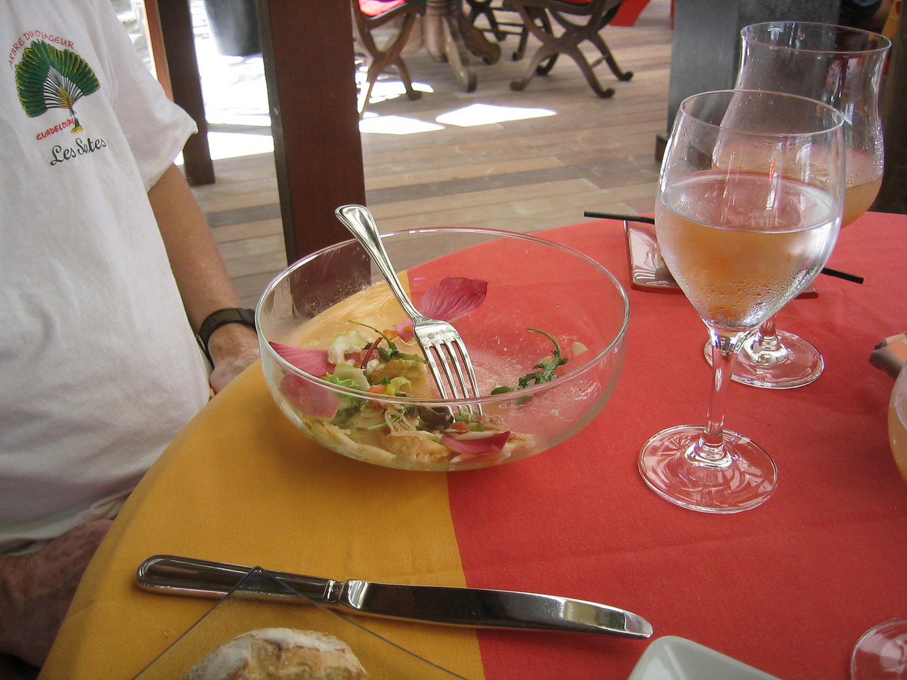 The remains of a very good salad at Sand Bar Restaurant at Eden Rock. (geotagged)
