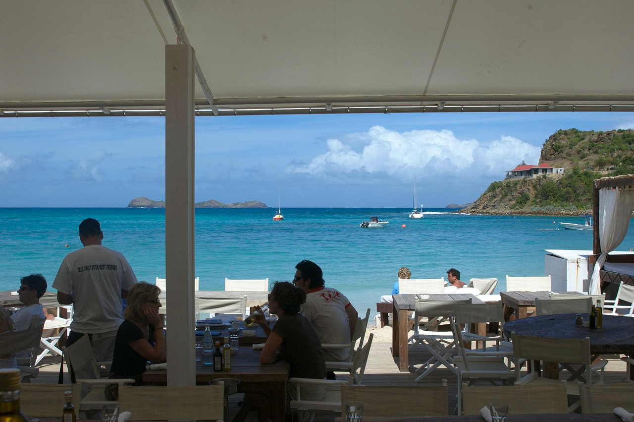The view from our table at the relentlessly trendy Nikki Beach Restaurant.
