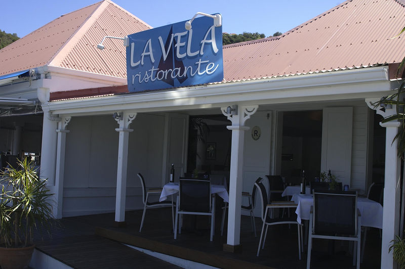 La Vela is an Italian restaurant on the wharf in Gustavia near the post office