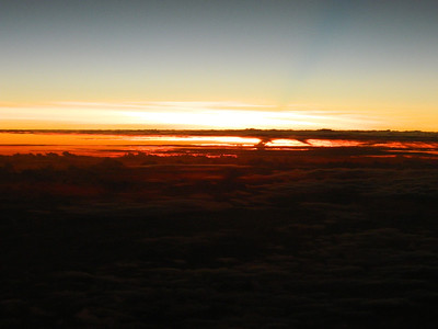 Madagascar Sunset from 33,000 feet.