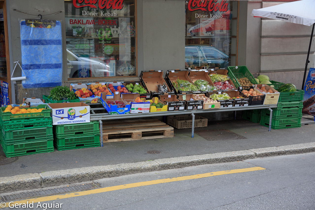 This was a typical sidewalk display of fruits and vegetables on sale on some of the side streets.