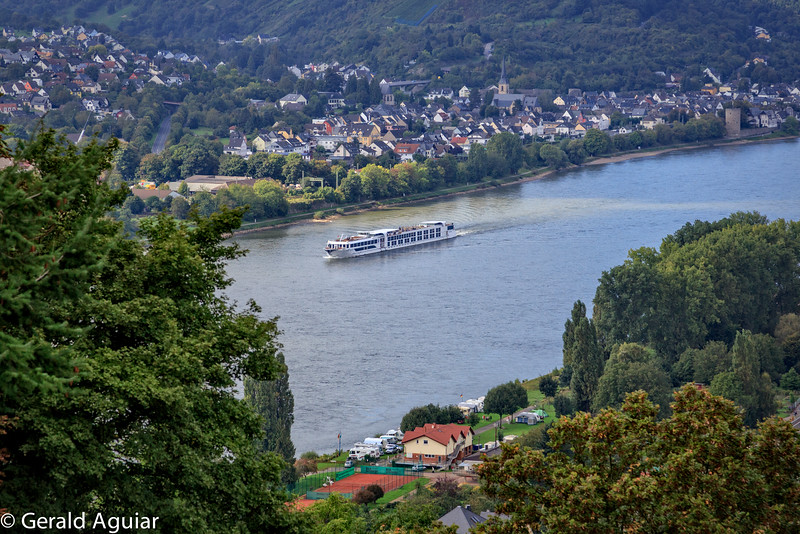 A Viking River Ship cruising the Rhine - viewed from the Marksburg Castle