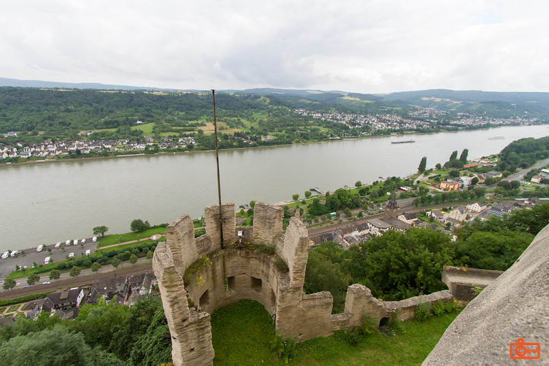 This is the view from Marksburg Castle of the Rhine River.
