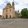 The Speyer Cathedral shows its Romanesque architecture. Parts are nearly 1000 years old. This UNESCO building is the largest Romanesque church.