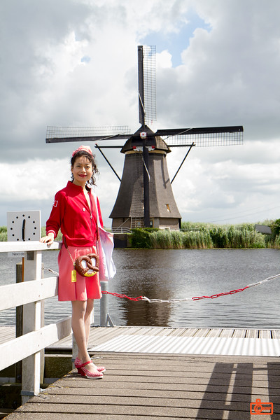 Rosa and a windmill. The windmills of Kinderdijk were constructed between 1738 and 1740.