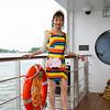 Rosa on our Viking ship Tiafli.