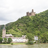 Burg Maus, or Mouse Castle, along the Rhine Gorge. It dates back to 1356.