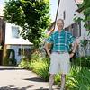 Richard in a public garden in the town of Colmar.