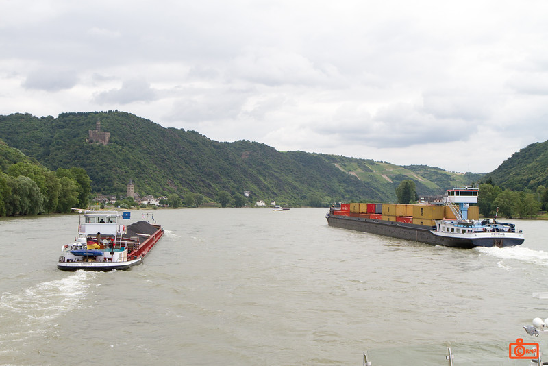 Traffic on the river through the Rhine Gorge. The Gorge is the narrowest part of the Rhine River, and a UNESCO site.