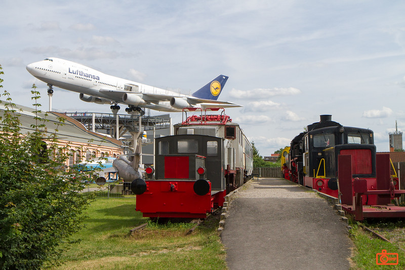 The outdoor display areas of Technik Museum Speyer had trains, planes, a boat and a submarine!
