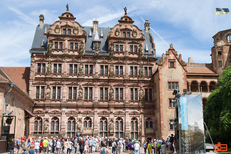 This is the Friedrichsbau in Heidelberg Castle. Statues along the facade show the royal lineage.
