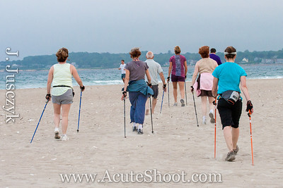 23rd June 2013 Nordic Walkers at Narragansett Beach, RI.