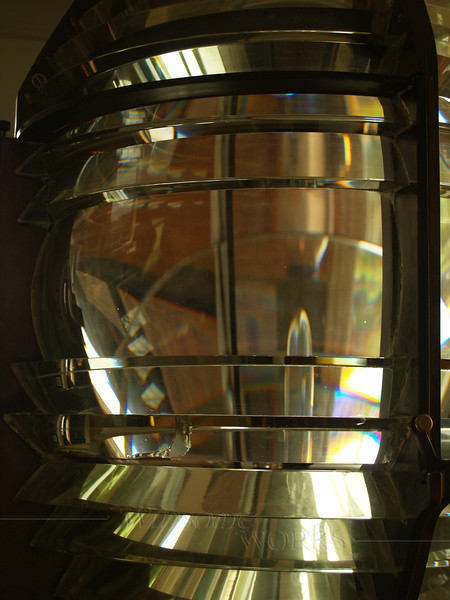 Old Fresnel lens from another lighthouse, on display in the Beavertail Lighthouse museum