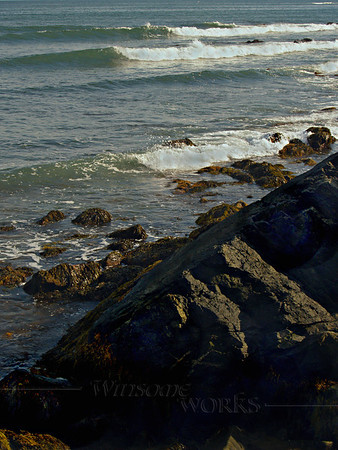Breakers and rocks along the Cliff Walk, Newport