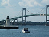 Goat Island Light (Newport Harbor Light) with Claiborne Pell or Newport Bridge