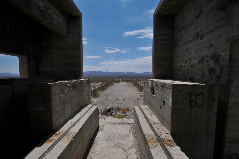 What appeared to be a loading dock at the abandoned structure on the way to Beatty, NV