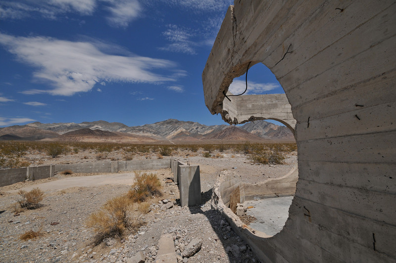 A curved spot in the abandoned structure on the way to Beatty, NV