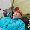 Resting in the tent.