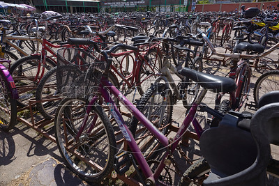 Bicycles parked outsdie the Verolme shipyard in Rio de Janeiro state, Brazil. Bicycles are widely used in small towns and factories in Brazil.  (Australfoto/Douglas Engle)