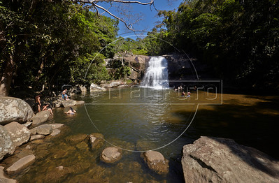 A view of the waterfall in Prumirmim, in the municipality of Ubatuba, São Paulo state, Brazil, just off the Rio-Santos highway. The 500 plus kilometer road runs along the Atlantic Ocean, passing through, near and around dozens of beaches, waterfalls, mountains and forest. It is arguably of of Brazil's most beautiful roads. (Australfoto/Douglas Engle)