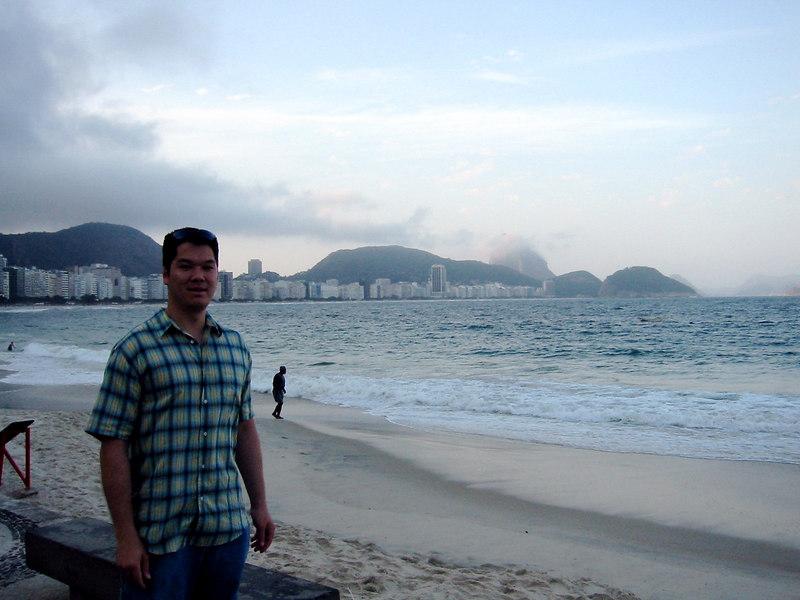 On Copacabana Beach, looking back towards Sugar Loaf.
