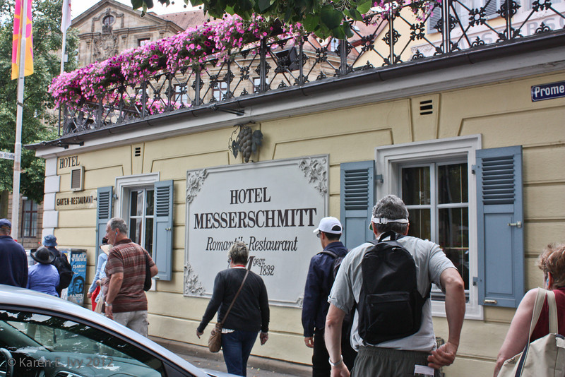 Walking into Bamberg, past a hotel with a recognizable name