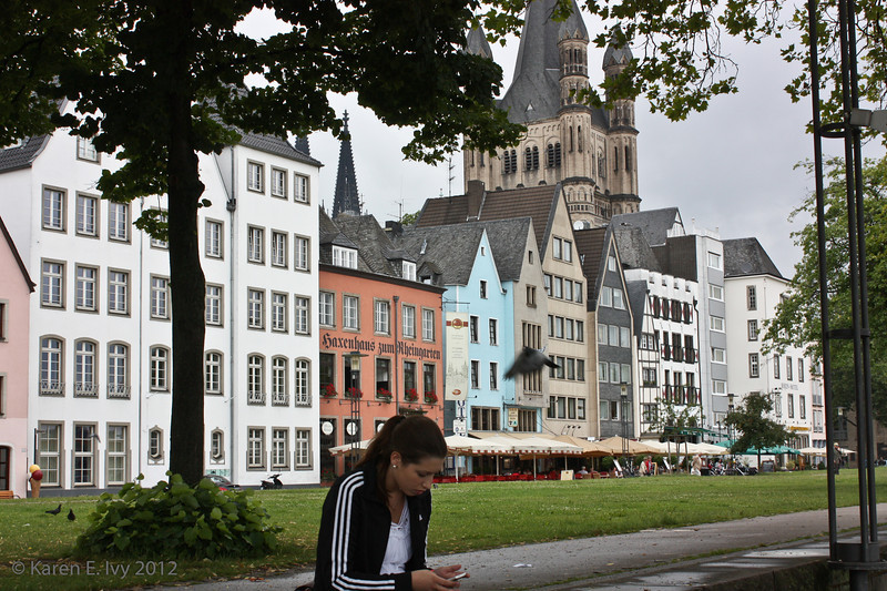 Houses along the Rhine, Great St. Martin spires