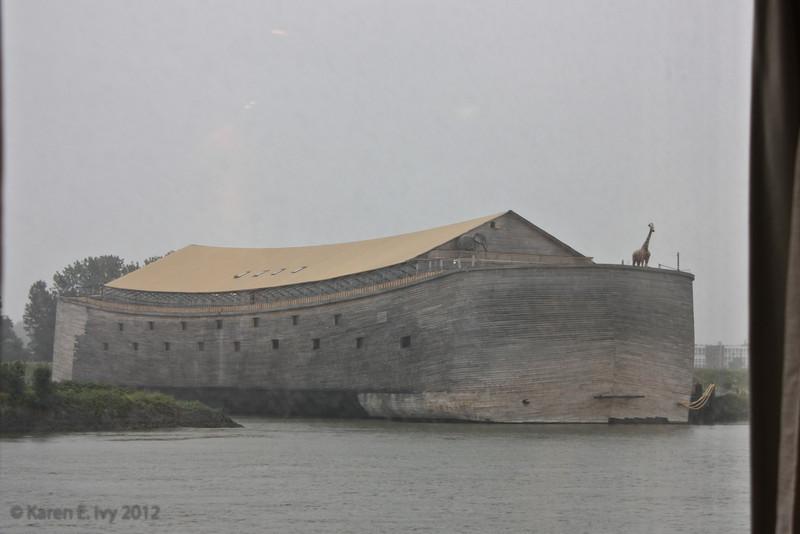Noah's Ark replica, on riverbank