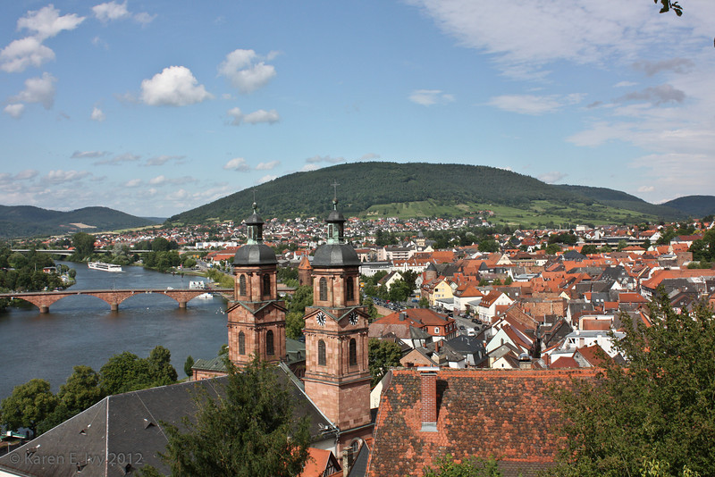 St. Jakobus spires and Miltenberg, from the castle wall
