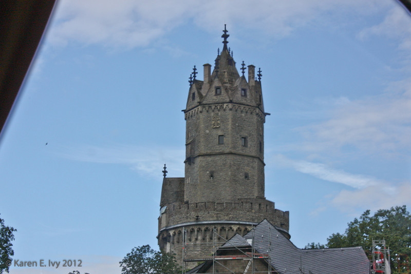 Church tower, from bus