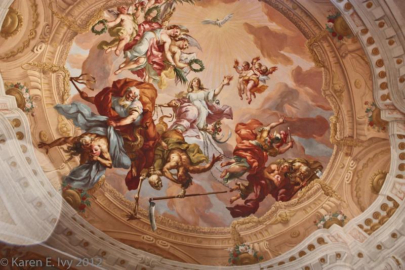 Detail of Melk Abbey church ceiling