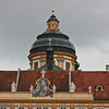 Melk Abbey tower and 1 of 4 paintings over the courtyard doors