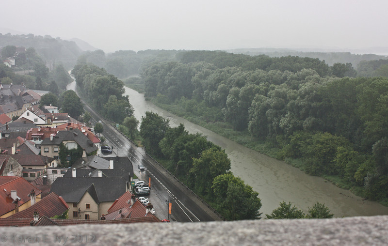 Danube River from the Terrace, Melk Abbey, in a pouring rain