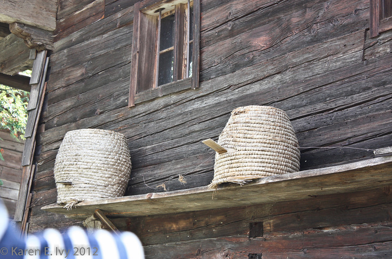 Beehives next to a farm building.
